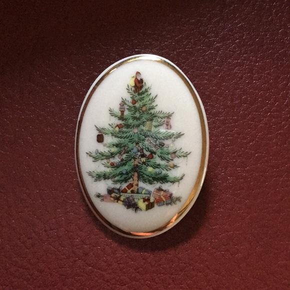 Vintage SPODE 🎄 Christmas Tree Pin Brooch